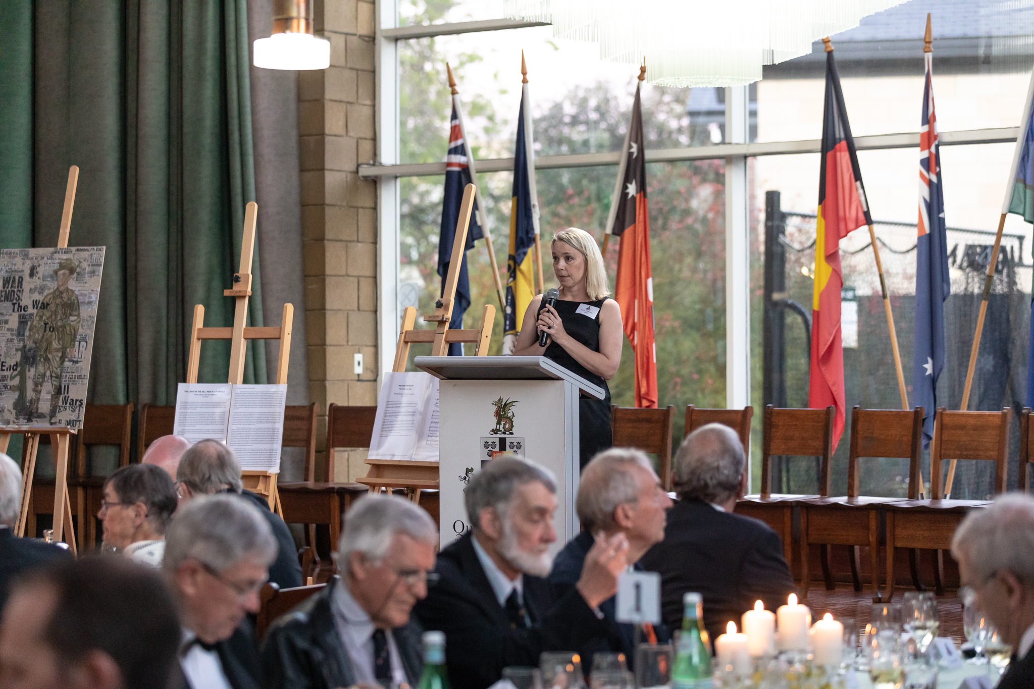 Dr Katy Williams introduces the Armistice Prize at the Wyvern Dinner