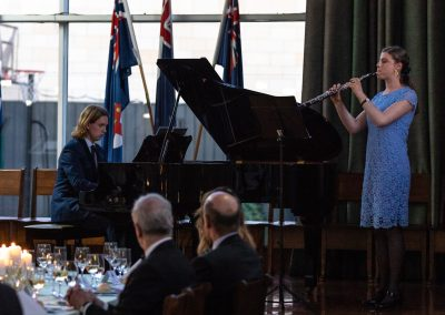 Sam Williams and Bienne Gawler perform the Armistice Prize piano and oboe piece at the Wyvern Dniner